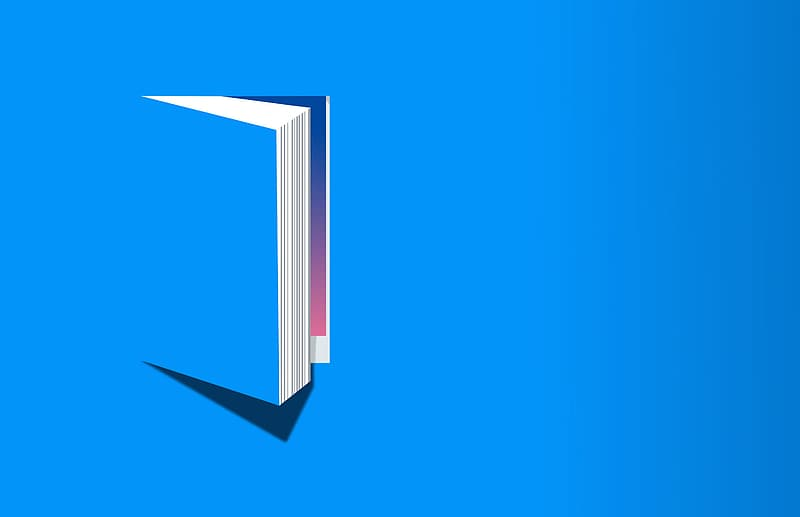 A picture illustrating a book opening from a flat 2D (blue) surface.
